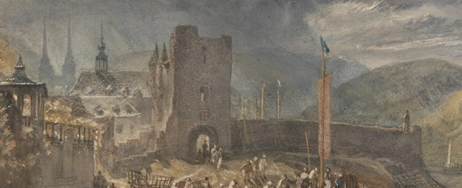 """William Turners """"Ein Blick auf Boppard, mit Figuren am Flussufer"""" (1817), Wasserfarben, Gouache, schwarze Kreide und Kratztechnik auf Velinpapier,  (20x31,8 cm)"""