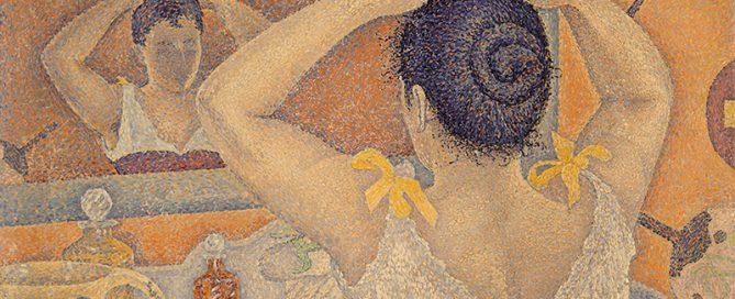 Paul Signac, Frisierszene. Opus 227 (Dekorationsentwurf für einen Waschraum), 1892, Privatsammlung.